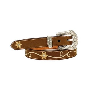 Nocona Western Belt Womens Floral Rhinestone Medium Brown N3425044