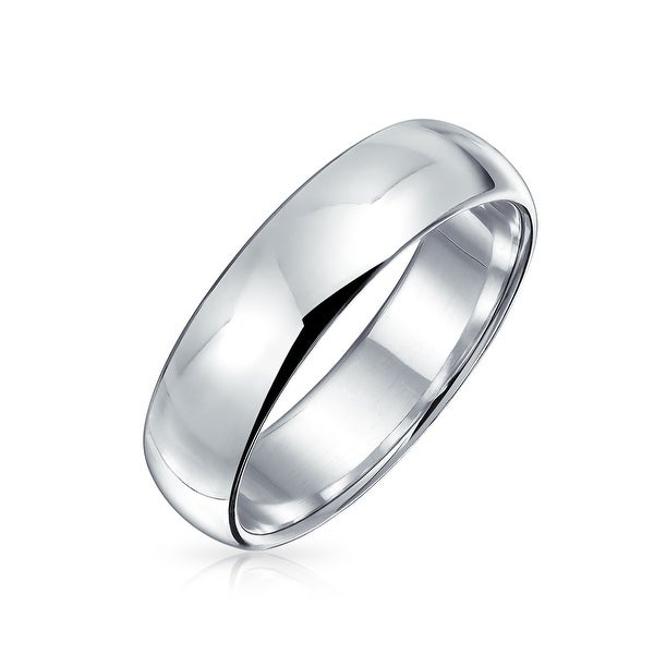 ef9e515179487 Shop Classic Style 925 Sterling Silver Polished Finish Wedding Band ...