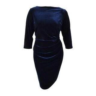 Lauren by Ralph Lauren Women's Plus Size Velvet Sheath Dress - navy