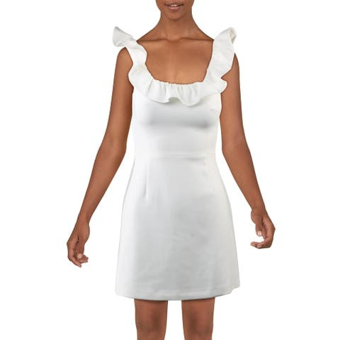 French Connection Whisper Ruffle Neck Sleeveless A-Line Mini Dress
