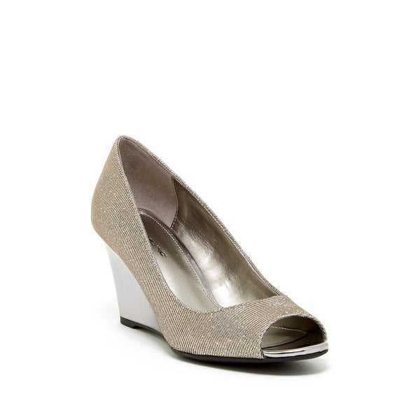 Bandolino NEW Silver Tuff Love Shoes Size 10M Wedge Open Toe Heels