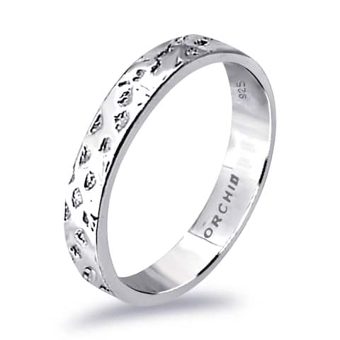 Stylish Solid Plain Rhodium Plated Sterling Silver Band Ring by Orchid Jewelry