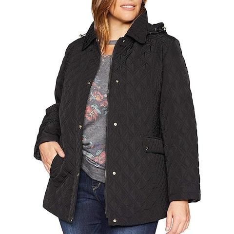 Jones York Women's Jacket Black Size 2X Plus Quilted Hoodie