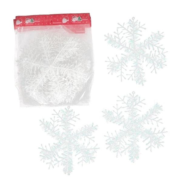 Unique Bargains 10 Pcs Glitter Silk Ribbon Detail Plastic Home Christmas Snowflake Pendant White