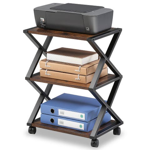 FITUEYES Mobile Printer Stand 3 Tiers Wood and Metal Cart