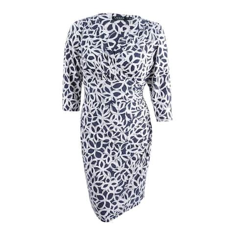Lauren by Ralph Lauren Plus Size Print Faux Wrap Jersey Dress (14W, Grey) - Grey