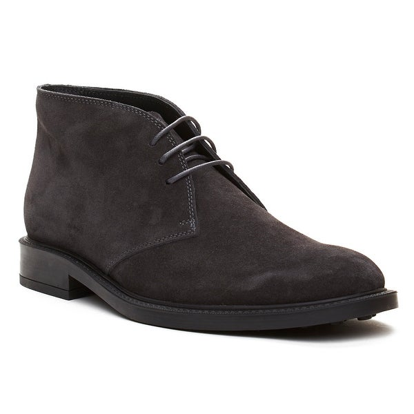 Tod's Men's Suede Chukka Desert Boots Shoes Charcoal Grey