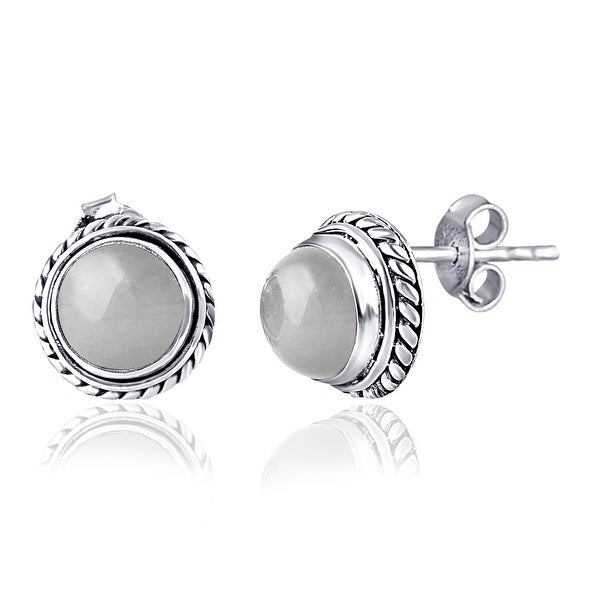 Moonstone Sterling Silver Round Stud Earrings by Orchid Jewelry. Opens flyout.