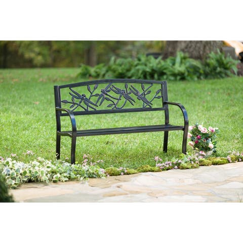 Dragonfly Metal Garden Bench - Black