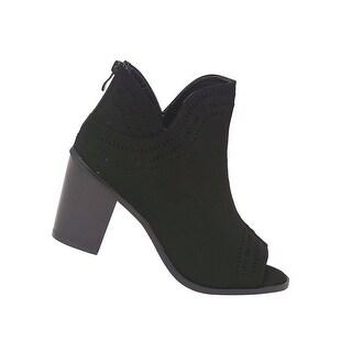Adult Black High Heel Peep-Toe Zipper Bootie Sandals Women