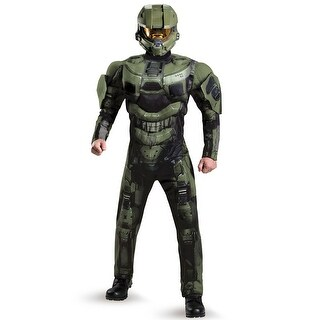 Disguise Master Chief Deluxe Muscle Adult Costume - Green