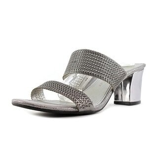 Anne Klein Naldo Women Open Toe Canvas Gray Sandals