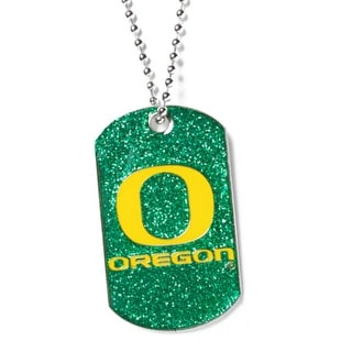Oregon Ducks Dog Fan Tag Glitter Necklace