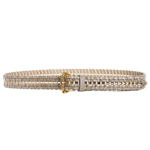 Roberto Cavalli Grey Colorblock Basket Woven Leather Belt