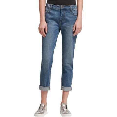 DKNY Womens Soho Boyfriend Fit Jeans, Blue, 32