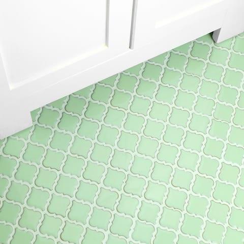 """SomerTile Hudson Tangier Light Green 12.38"""" x 12.5"""" Porcelain Mosaic Tile"""
