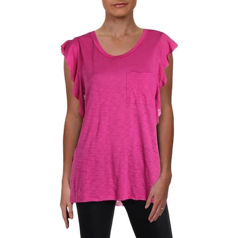 Free People Womens So Easy T-Shirt Raw Hem Flutter Sleeves