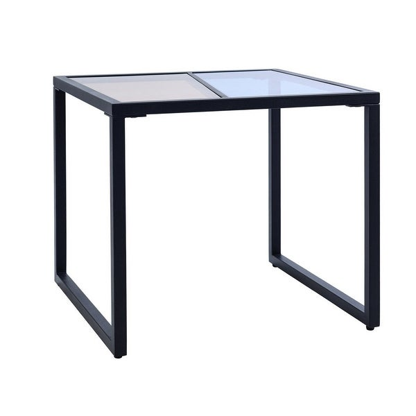 Shop Costway Square Side End Table Tempered Glass Top