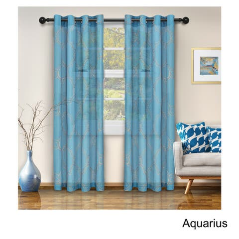 Miranda Haus Embroidered Larchmere Sheer Grommet Curtain Panel Set