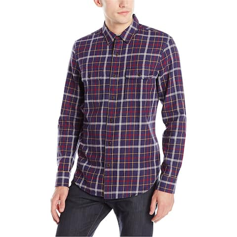 Lucky Brand Mens Double Pocket Button Up Shirt, Blue, XX-Large