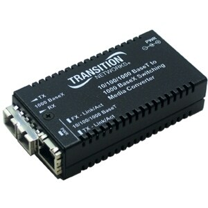 """""""Transition Networks M/GE-PSW-SX-01-NA Transition Networks 10/100/1000Base-TX to 1000Base-SX Media Converter - 1 x RJ-45 , 1 x"""
