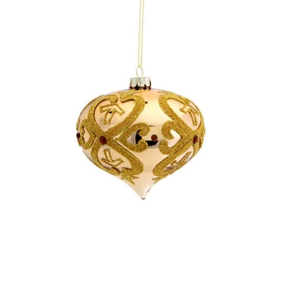 "3.5"" Shiny Gold Glittered Open Clover Onion Christmas Ornament"