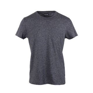 Tom Ford Grey Salt Pepper Single Pocket Pure Cotton T Shirt - M