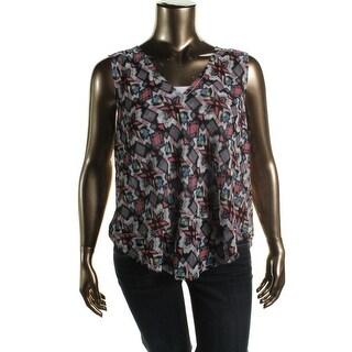 Rachel Rachel Roy Womens Chiffon Printed Pullover Top - XXL