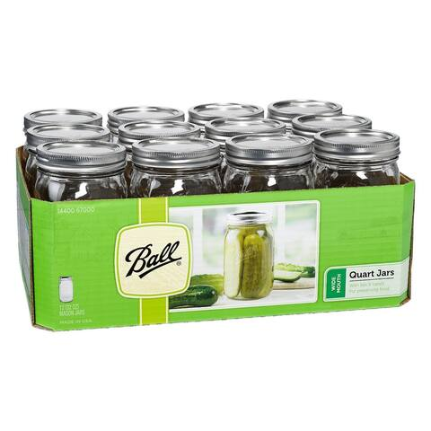 Ball 67000 Wide Mouth Mason Jars with Lids & Bands, 1 Qt, 12-Pack