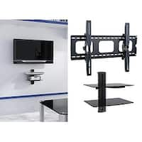 2xhome - NEW TV Wall Mount Bracket & Two (2) Double Shelf Package - Secure LED LCD Plasma Smart 3D WiFi Flat Panel Screen