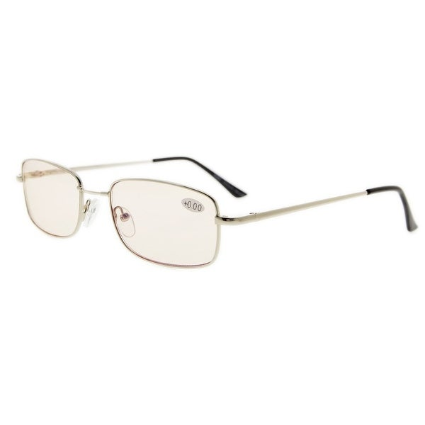 Eyekepper Bridge-flex Memory Titanium Mens Womens Spring Hinges Eyeglasses Silver(Amber Lens, +2.00)