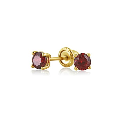Tiny Cubic Zirconia Red Imitation Garnet CZ Round Solitaire Stud Earrings Real 14K Yellow Gold Screwback