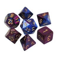 Chessex Gemini Blue And Purple With Gold Polyhedral 7 Dice Set