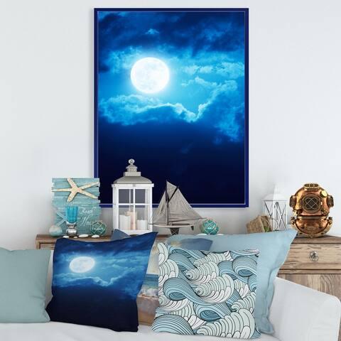 Designart 'Full Moon In Cloudy Night Sky III' Nautical & Coastal Framed Canvas Wall Art Print