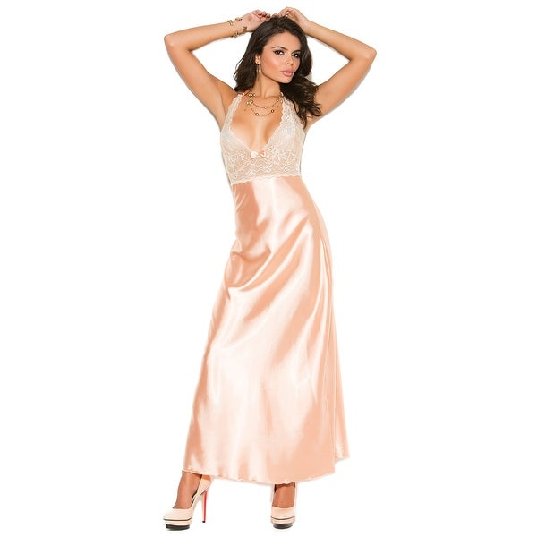 Peaches And Cream Long Gown, Satin And Lace Gown - Peach - Free ...