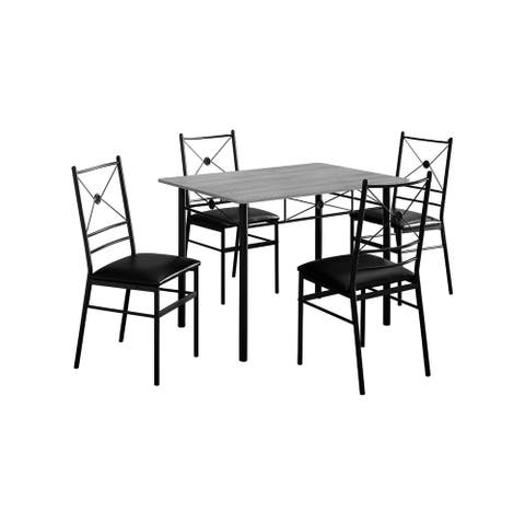 Offex Contemporary Dining Set - Black Metal, Grey - 5 Pieces Set