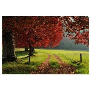 """Autumn trees in garden."" Poster Print"