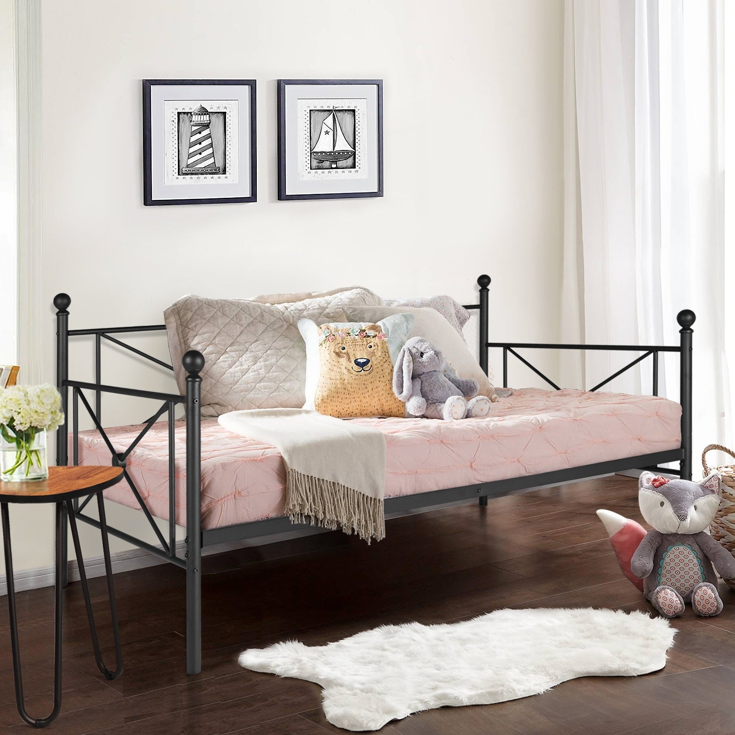 - Shop VECELO Black Metal Daybed Cross Wrought Iron Daybed - On Sale