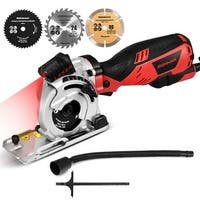 Electric Mini Laser Circular Saw Hand Held Grinder Cutting Tool Kit w/ 3 Blades - as pic