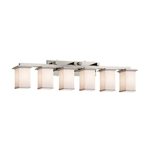 Textile Montana 6-Light Brushed Nickel Bath Bar, White Cylinder w/ Square w/ Flat Rim Shade