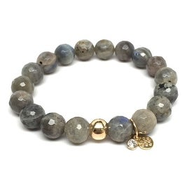 Grey Labradorite 'Emma' Stretch Bracelet, 14k over Sterling Silver