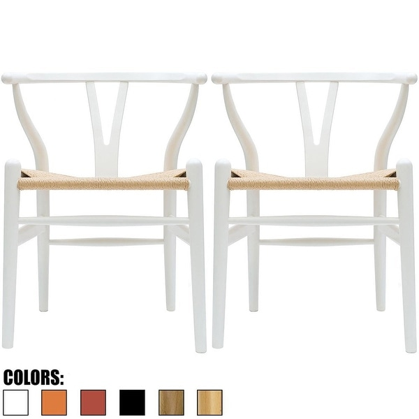 2xhome Set Of 2 White Modern Wood Dining Chair With Y Back Arm Armchair  Hemp Seat