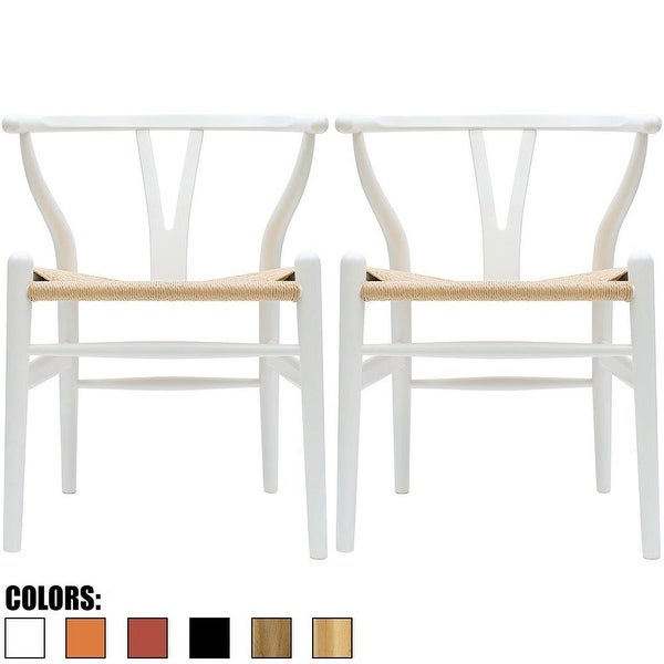 2xhome Set of 2 White Modern Wood Dining Chair With Y Back Arm Armchair Hemp Seat For Home Restaurant Office. Opens flyout.