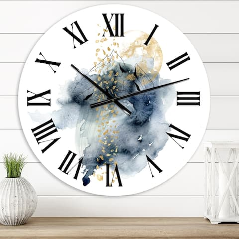 Designart 'Minimalistic Landscape of Mountains With Moon' Modern wall clock