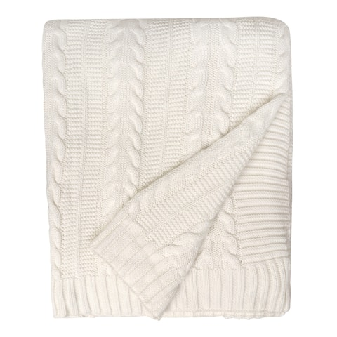 """Organic Cotton Cable Knit Oversized Throw Blanket, 50""""X70"""""""