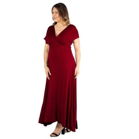 24seven Comfort Apparel Empire Waist V Neck Plus Size Maxi Dress