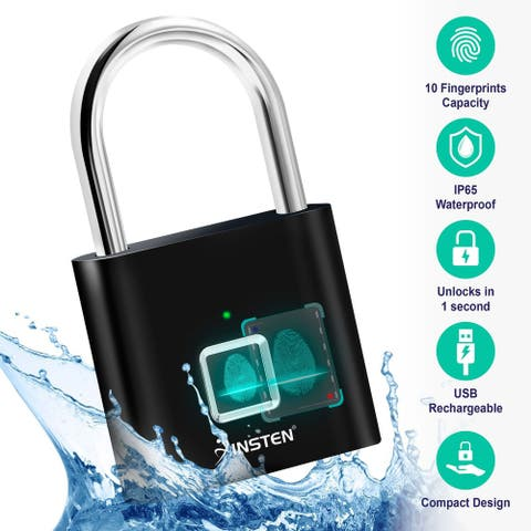 Fingerprint Padlock Waterproof Smart Lock for Gym School Locker Bike Storage Box