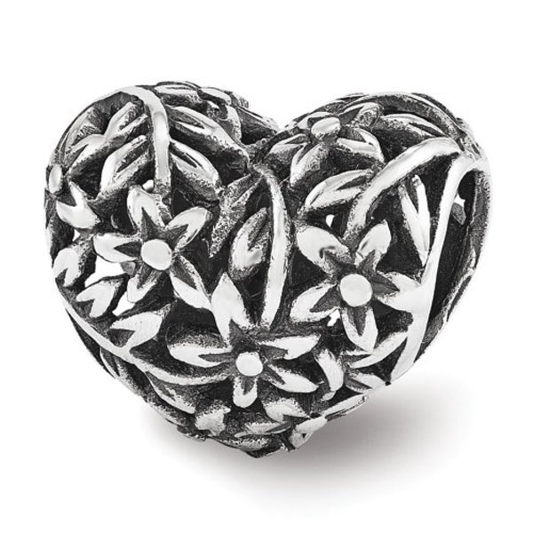 Sterling Silver Reflections Filigree Flower Heart Bead (4mm Diameter Hole)