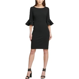 DKNY Womens Cocktail Dress Ruffle Sleeves Knee-Length