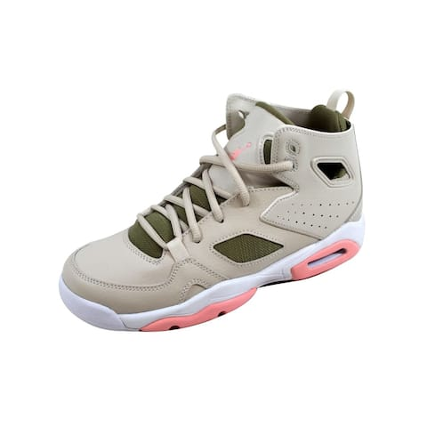 5d7bde600c1998 Nike Grade-School Air Jordan Flight Club 91 Light Orewood Brown Bleached  Coral 555333